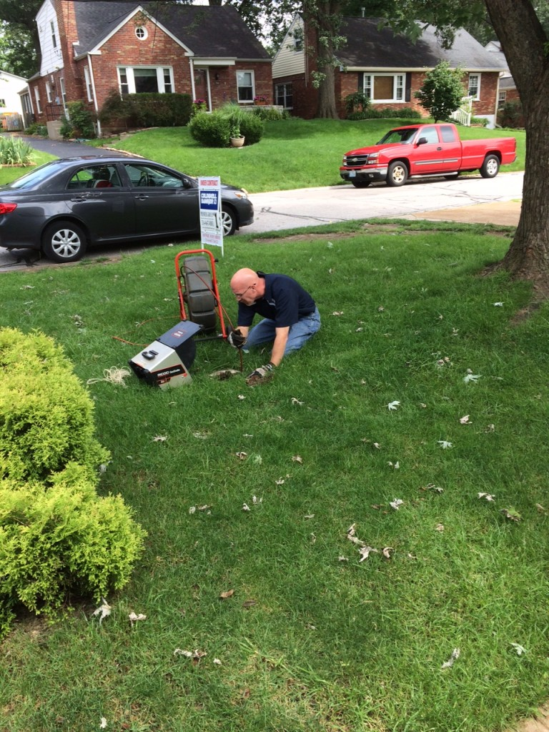 Sewer line camera inspection performed at the exterior vent pipe
