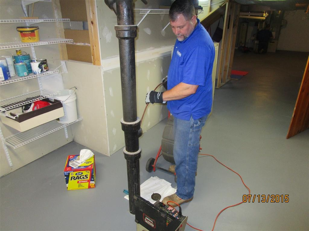 Sewer line camera inspection performed from at an interior clean-out
