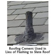 Roofing cement used in lieu of flashing